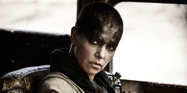 Actress Charlize Theron stars as Furiosa in the film, Mad Max: Fury Road.