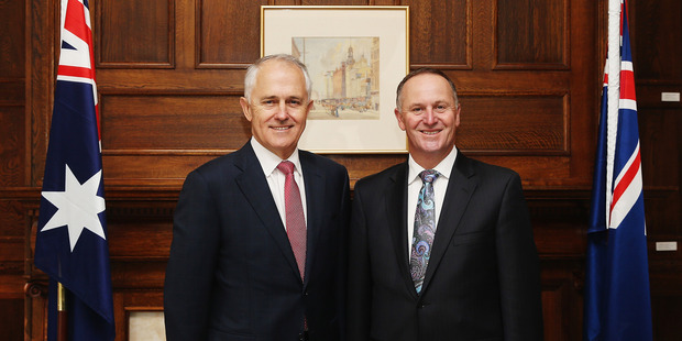 Australian Prime Minister Malcolm Turnbull with New Zealand Prime Minister John Key at Government House. Photo / Getty Images