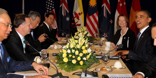 New Zealand Prime Minister John Key pictured with other leaders, including United States President Barack Obama at a Trans-Pacific Partnership leaders meeting. Photo / Mark Mitchell