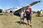 Thomas Duthie, 10, and Pete Calkin at last weekend's airshow. Photo/George Novak