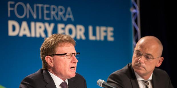 Fonterra chairman John Wilson, left,  with Fonterra CEO Theo Spierings. Photo / Jason Oxenham.