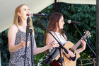 Taylor Vercoe, and Lorna Gibson, from Hastings, entertain the crowd during the Summer in the Park series in February 2015. Photo / Paul Taylor