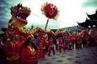 Dragon dance during Chinese New Year Celebrations.