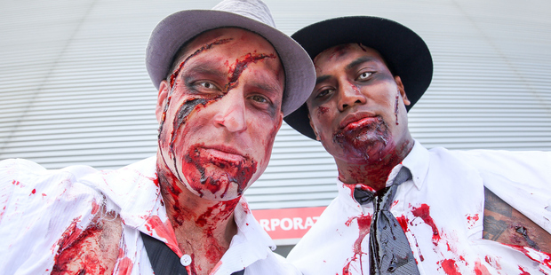 Cory Jane and Julian Savea dressed up as zombies for the Wellington Sevens. Photo / Getty Images