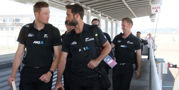 Martin Guptill and Grant Elliott arrive at Hawke's Bay Airport ahead of the Black Caps second ODI against Pakistan at McLean Park. Photo / Duncan Brown