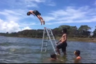 A 30-second clip of Kaitaia kids jumping off a ladder in Lake Ngatu has gone global with more than 300,000 views in its first 48 hours online.