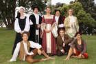 Lady Olivia's household from Summer Shakespeare Tauranga's production of Twelfth Night.