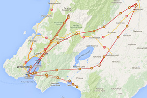 A tracking chart showing the three missions of the Life Flight Westpac Rescue helicopter yesterday. Two of the missions were to fatal incidents. PHOTO/NZME