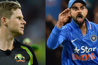Virat Kohli plucked a catch to dismiss for Steve Smith for 21 in what proved a turning point in the Australia Day Twenty20 clash, which Australia lost by 37 runs. Photos / Getty Images