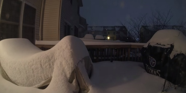 The porch becomes more or less invisible after a blanket of snow arrives. Photo / YouTube