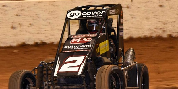 Brock Maskovich on his way to victory at Western Springs Speedway on Saturday night. Photo / Shot360