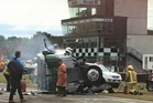 The aftermath of a horror truck crash at Teretonga Park in Invercargill on Saturday. Photo / Tania Peterson - Facebook.