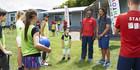 New Youthtown Ambassador Tana Umaga meeting children at a Breakaway school holiday programme at Rosehill College, Papakura, last week. Photo / Nic Fletcher