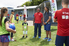 New Youthtown Ambassador Tana Umaga meeting children at a Breakaway school holiday programme at Rosehill College, Papakura, last week. Photo / Nic Fletcher