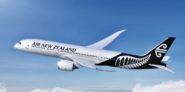 Air New Zealand aircraft features silver fern designs.