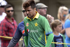 Mohammad Amir leaves the field injured during the opening ODI at the Basin Reserve. Photo / Getty