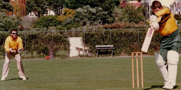 Via Beige Brigade: In 1986 a group of Australian Cricket stars visited Victoria University in Wellington to promote the installation of an artificial cricket pitch at Kelburn Park.