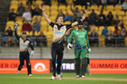 dam Milne of New Zealand celebrates the wicket of Imad Wasim of Pakistan during the Twenty20 International match. Photo / Getty Images