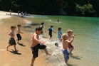 In Riwaka kids can enjoy swimming, fishing and finding their own fun. Photo / Elisabeth Easther