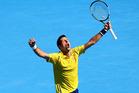 Novak Djokovic celebrates a point in his fourth round match against Gilles Simon. Photo / Getty