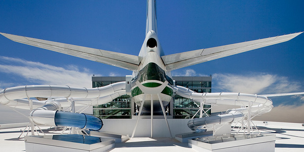 This Boeing 747 has been converted into a waterslide. Photo / evergreenmuseum.org