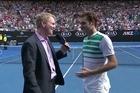 Roger Federer interviewed by four-time grand slam winner Jim Courier.