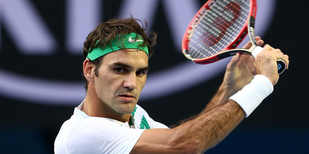Roger Federer in action at the Australian Open. Photo / Getty