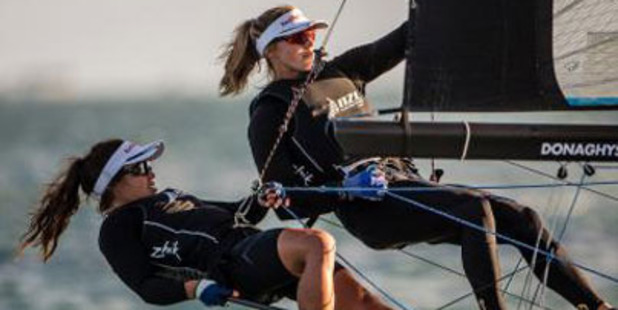 Alexandra Maloney and Molly Meech have hit the lead in the 49er FX in Miami. Photo / Supplied