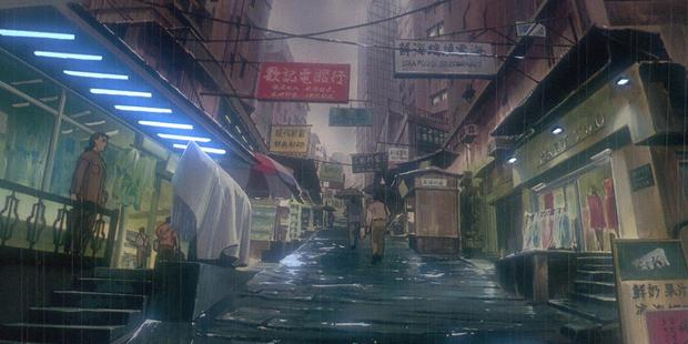 Scene from the atmospheric 1995 anime, Ghost in the Shell. Image / Production I.G