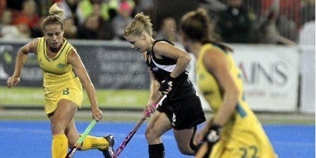 ACTION AHEAD: Black Sticks Kirsten Pearce is pictured playing against Australia last year.PHOTO/FILE