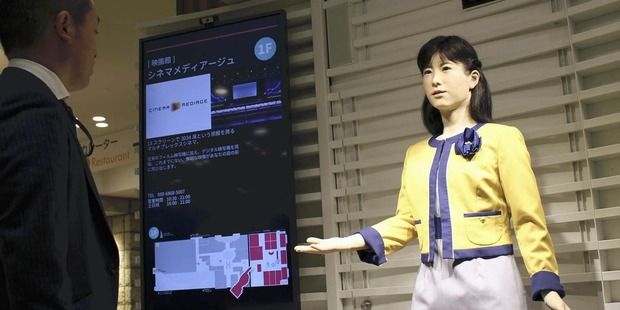 Toshiba's robot Chihira Junko attends to a customer at an information center in Tokyo. Photo / Japan News