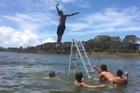 A video clip of Kaitaia kids doing bombs off a ladder in a dune lake. The clip was posted on the Kaitaia Youth Creative Facebook page after a trip that day to Lake Ngatu, about 10km north of town.