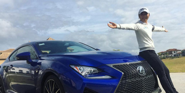 Lydia Ko with her first car, the 2016 Lexus RC F Sports Coupe. Photo / Instagram