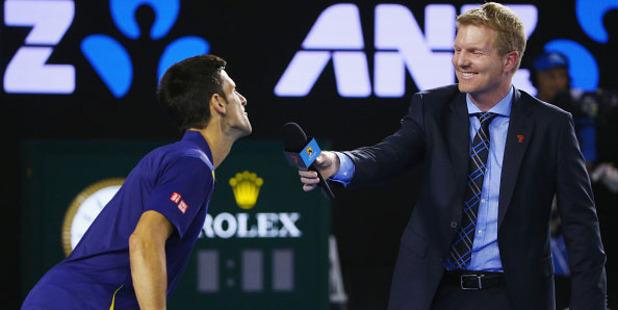 Novak Djokovic pokes fun at Jim Courier. Photo / Getty
