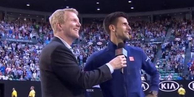Novak Djokovic talks to a heckler at the Australian Open. Photo / YouTube