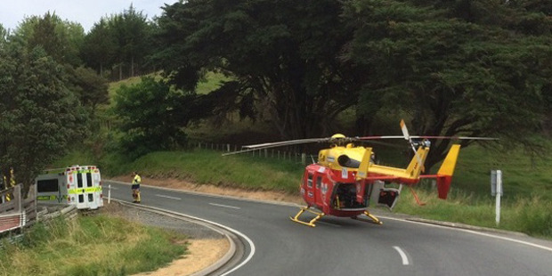 Emergency services at the scene. Photo / Auckland Westpac Rescue Helicopter