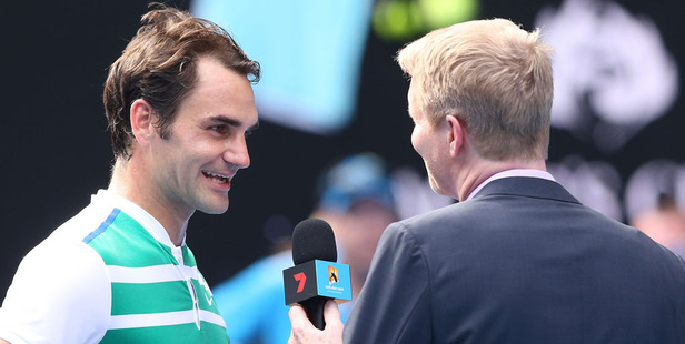 Loading Roger Federer interviewed by four-time grand slam winner Jim Courier. Photo / Getty