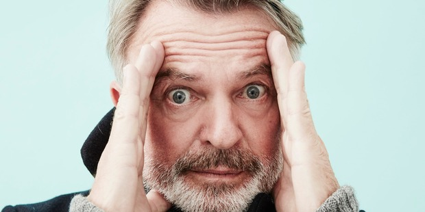 Sam Neill had to get six stitches in his head after hitting a wall while skiing in Utah during his time at the Sundance Film Festival.