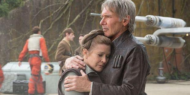 Carrie Fisher as Leia and Harrison Ford as Han Solo in Star Wars: The Force Awakens. Photo / LucasFilms