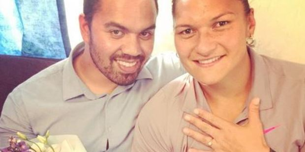 The two-time Olympic champion tweeted the news of her engagement to Gabriel Price. Photo / Twitter, @ValerieAdams84