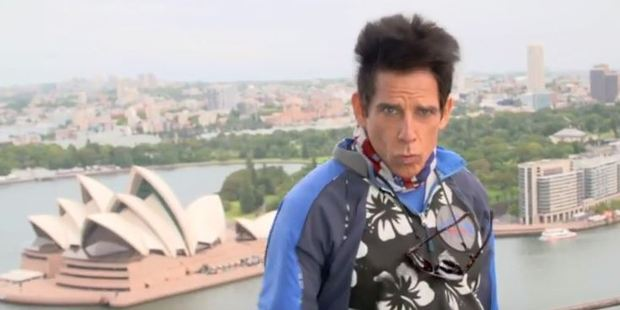 Ben Stiller aka Zoolander shows off his signature look 'blue steel' on Sydney Harbour Bridge