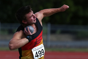 Ryan Ballantyne from St Paul's Collegiate in Hamilton has set a world-leading mark for the U18 shot put at the New Zealand Secondary Schools Track, Field & Road Race Championships. Photo / Photosport