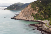 Slips across State Highway One and evidence of the lifted sea-bed, caused in the November 14 7.7 earthquake, north of Kaikoura. Photo / Mark Mitchell