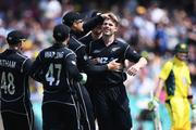 Lockie Ferguson celebrates the wicket of David Warner. Photosport
