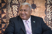 Prime Minister of Fiji Frank Bainimarama during a visit to Auckland in October. Herald Photograph by Greg Bowker.