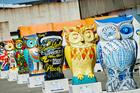 Painted owls raised more than $870,000 for a British children's hospital. Photo / Daniel Graves Photography
