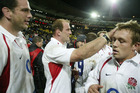 Jonny Wilkinson gets a pat on the head from Lawrence Dallaglio in 2003. Photo / Getty Images