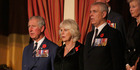 HRH Charles, Prince of Wales and HRH Prince Andrew, Duke of York with Camilla in the center. Photo / Getty Images