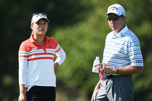 Lydia Ko and coach David Leadbetter pictured prior to the Evian Championship in 2015. Photo / Getty