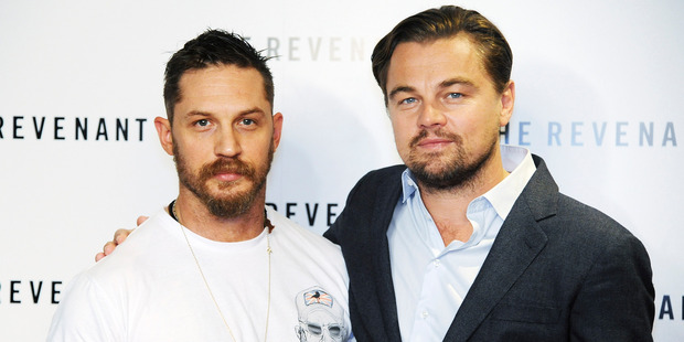 Leonardo DiCaprio (R) and Tom Hardy attend a screening of 'The Revenant.' Photo / Getty